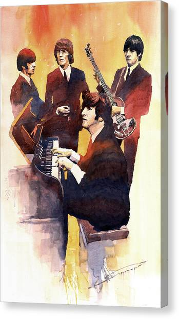 George Harrison Canvas Print - The Beatles 01 by Yuriy Shevchuk