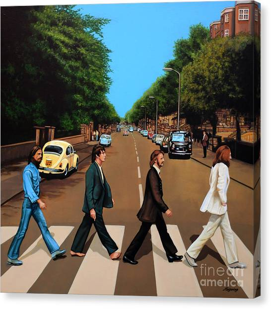 Music Canvas Print - The Beatles Abbey Road by Paul Meijering