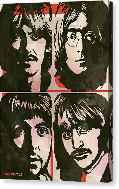 Music Genres Canvas Print - The Beatles Pop Stylised Art Sketch Poster by Kim Wang