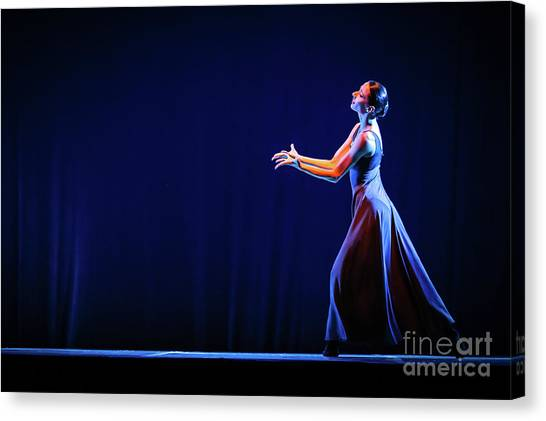 Canvas Print featuring the photograph The Beautiful Ballerina Dancing In Blue Long Dress by Dimitar Hristov
