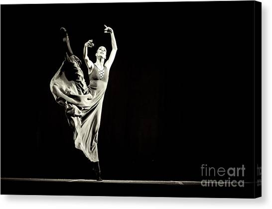 Canvas Print featuring the photograph The Beautiful Ballerina Dancing In Long Dress by Dimitar Hristov