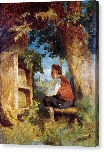 Canvas Print featuring the painting The Bee Friend by Hans Thoma