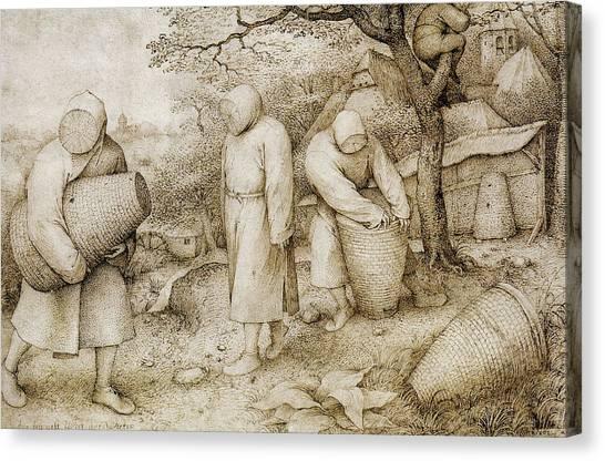 Baroque Canvas Print - The Beekeepers And The Birdnester by Pieter Bruegel the Elder
