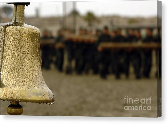 Navy Seal Canvas Print - The Bell Is Present On The Beach by Stocktrek Images