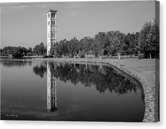 University Of South Carolina Canvas Print - The Bell Tower Reflections B W Furman University Greenville South Carolina Art by Reid Callaway