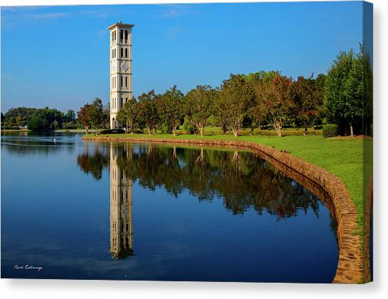 University Of South Carolina Canvas Print - The Bell Tower Reflections Furman University Greenville South Carolina Art by Reid Callaway