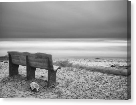 White Sand Canvas Print - The Bench by Larry Marshall