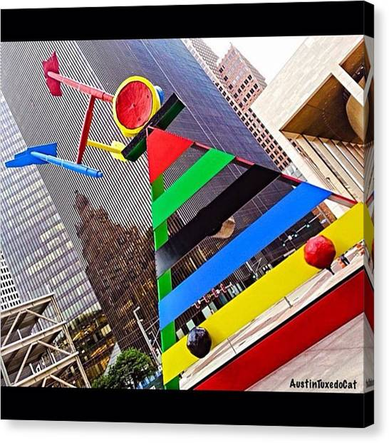 Houston Skyline Canvas Print - The Best #sculpture In #houston. Have A by Austin Tuxedo Cat