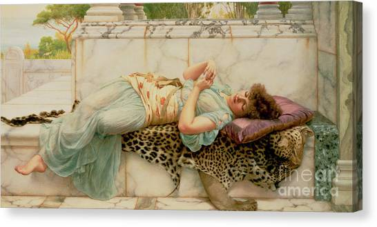 Laying Canvas Print - The Betrothed by John William Godward