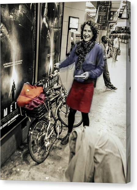 The Bicycle Girl Canvas Print