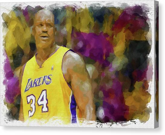 Shaquille Oneal Canvas Print - The Big Aristotle by Ricky Barnard