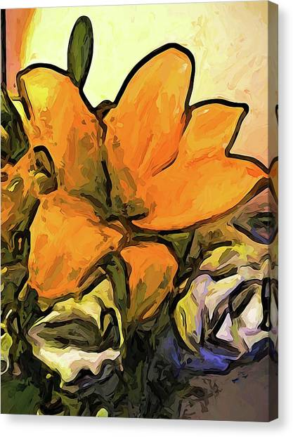 The Big Gold Flower And The White Roses Canvas Print