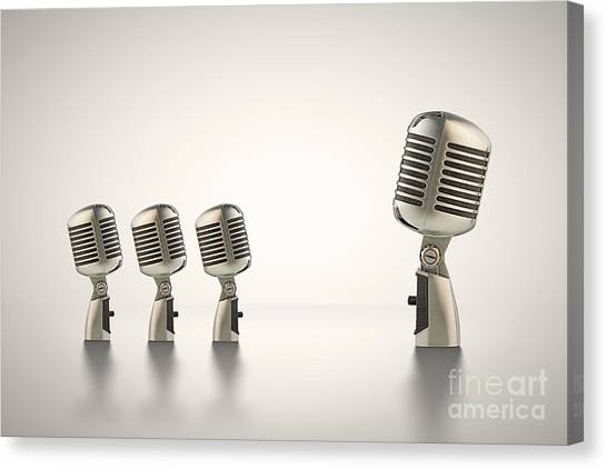 Microphones Canvas Print - The Big Talk by Johan Swanepoel