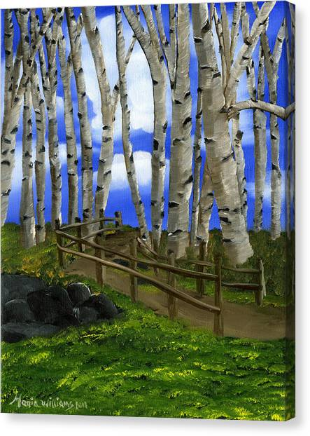 The Birch Tree Road Canvas Print by Maria Williams