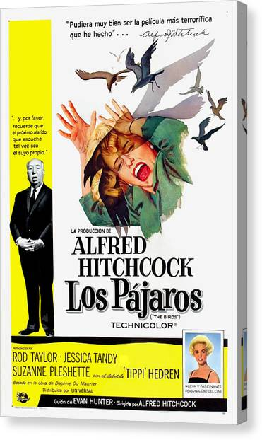 Foreign Ad Art Canvas Print - The Birds, Aka Los Pajaros, Alfred by Everett
