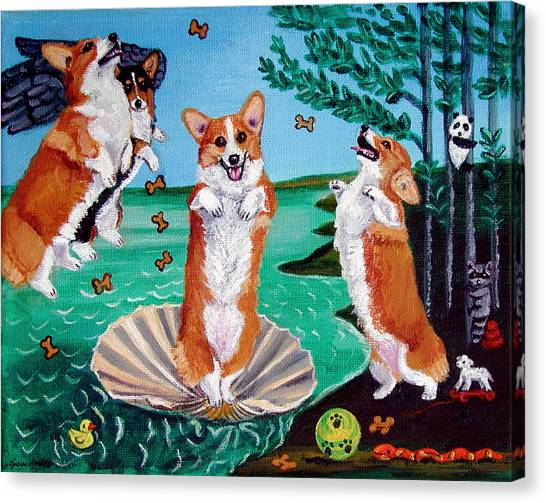 Venus Canvas Print - The Birth Of Venus -  Pembroke Welsh Corgi by Lyn Cook