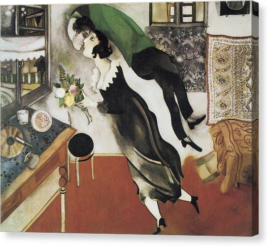 Cubism Canvas Print - The Birthday by Marc Chagall