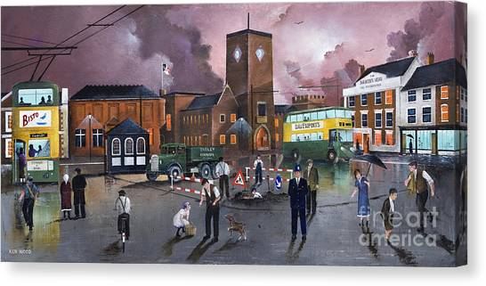 Dudley Trolley Bus Terminus 1950's Canvas Print
