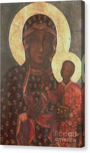 Byzantine Art Canvas Print - The Black Madonna Of Jasna Gora by Russian School