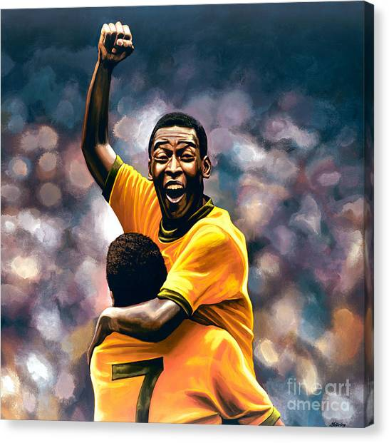 Fifa Canvas Print - The Black Pearl Pele  by Paul Meijering