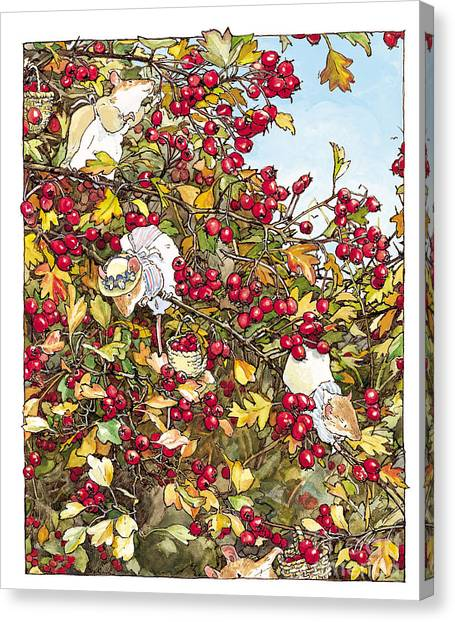 Tree Canvas Print - The Blackthorn Bush by Brambly Hedge