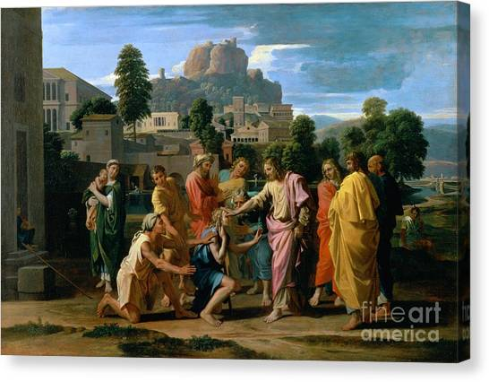 Holy Land Canvas Print - The Blind Of Jericho by Nicolas Poussin