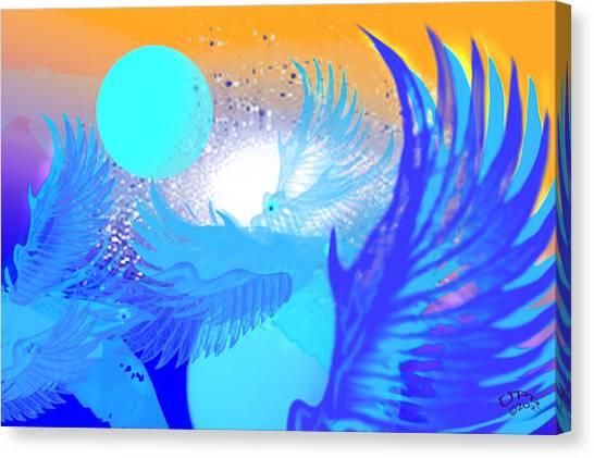 The Blue Avians Canvas Print