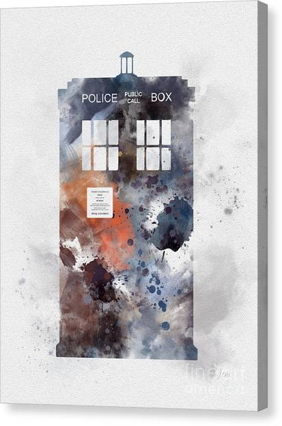 Doctor Who Canvas Print - The Blue Box by Rebecca Jenkins