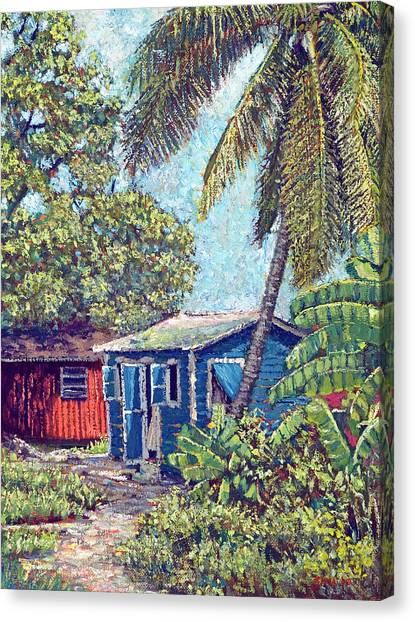 The Blue Cottage Canvas Print