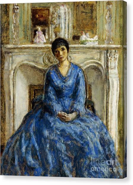 Head Tilt Canvas Print - The Blue Gown by Frederick Carl Frieseke