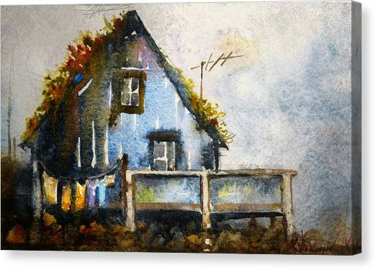 Laundry Canvas Print - The Blue House by Kristina Vardazaryan