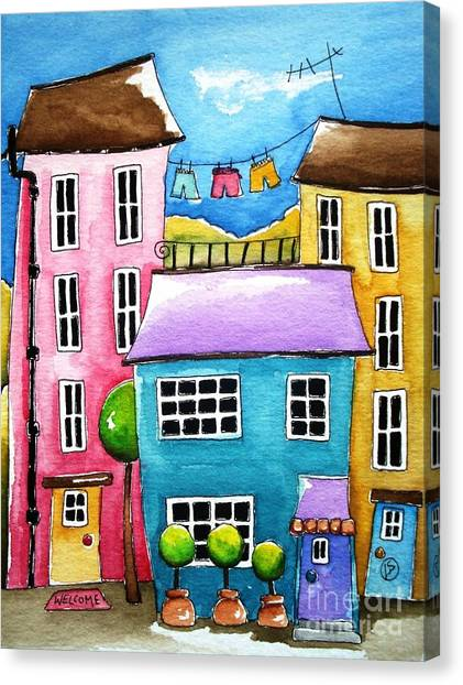 The Blue House Canvas Print by Lucia Stewart