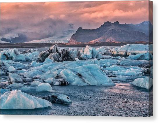 Vatnajokull Glacier Canvas Print - The Blue Lagoon by Alisha Anderson