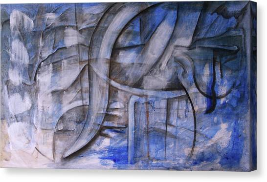 Canvas Print featuring the painting The Blue Machine by Keith A Link