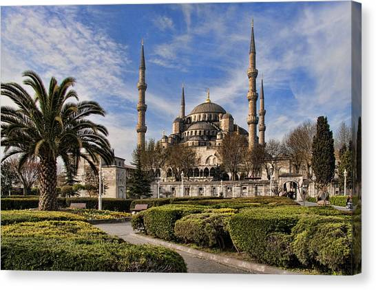 Muslim Canvas Print - The Blue Mosque In Istanbul Turkey by David Smith