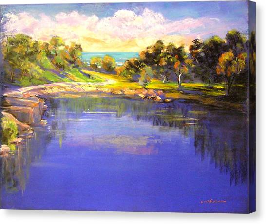 Canvas Print featuring the painting The Blue Pool Angourie  by Virginia Mcgowan