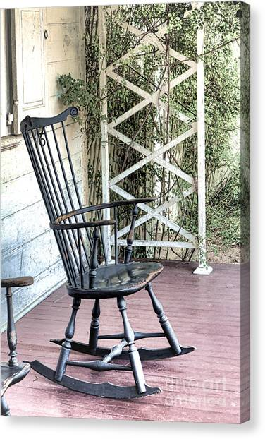 Rocker Canvas Print - The Blue Rocking Chair  by Olivier Le Queinec