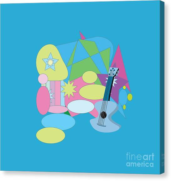 Canvas Print featuring the digital art The Blues by Eleni Mac Synodinos