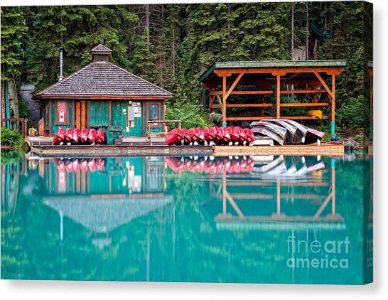 Canvas Print featuring the photograph The Boat House At Emerald Lake In Yoho National Park by Bryan Mullennix