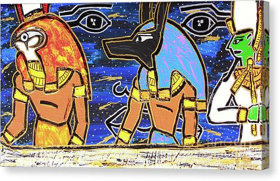 The Boat Of Ausar Passing Through The Underworld Canvas Print