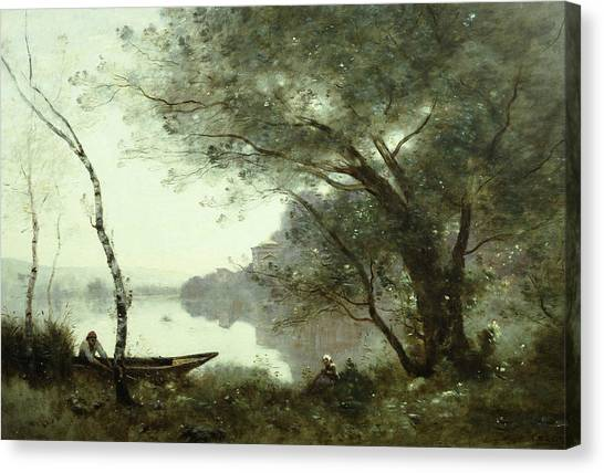 Camille Canvas Print - The Boatman Of Mortefontaine by Jean-Baptiste-Camille Corot