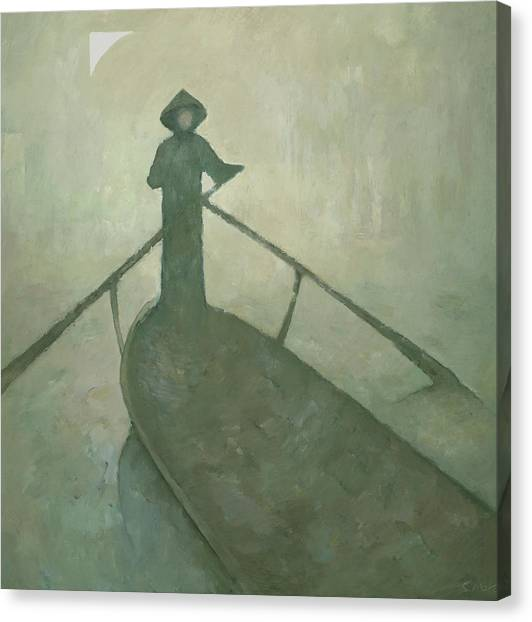 Canvas Print featuring the painting The Boatman by Steve Mitchell