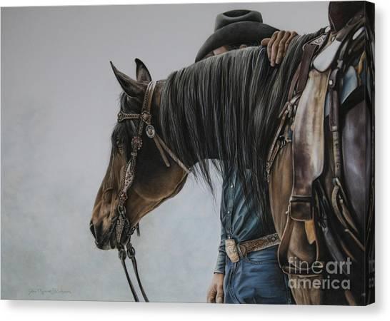 Saddles Canvas Print - The Bond by Joni Beinborn