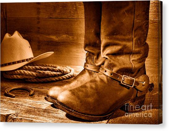 Cowboy Boots Canvas Print - The Boots - Sepia by Olivier Le Queinec