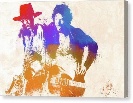 Bruce Springsteen Canvas Print - The Boss And The Big Man by Dan Sproul