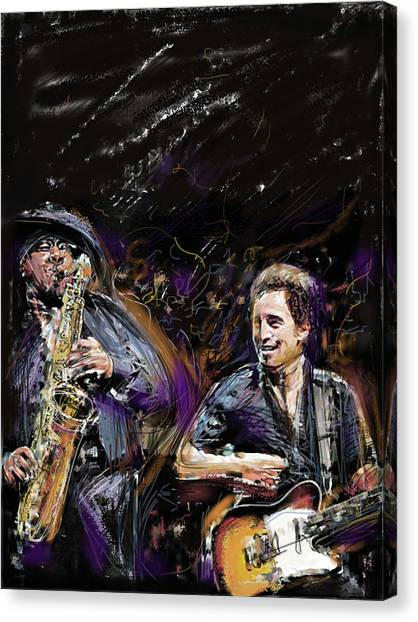 Bruce Springsteen Canvas Print - The Boss And The Big Man by Russell Pierce