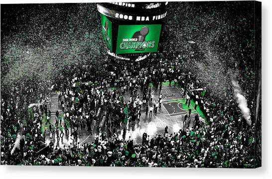 Larry Bird Canvas Print - The Boston Celtics 2008 Nba Finals by Brian Reaves