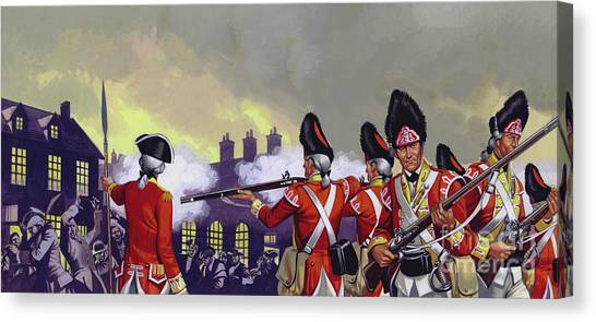 New England Revolution Canvas Print - The Boston Massacre, Massachusetts, 1770 by Ron Embleton