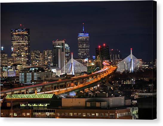 The Boston Skyline Boston Ma Full Zakim Canvas Print