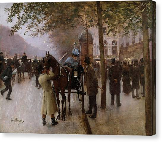 Carts Canvas Print - The Boulevards by Jean Beraud